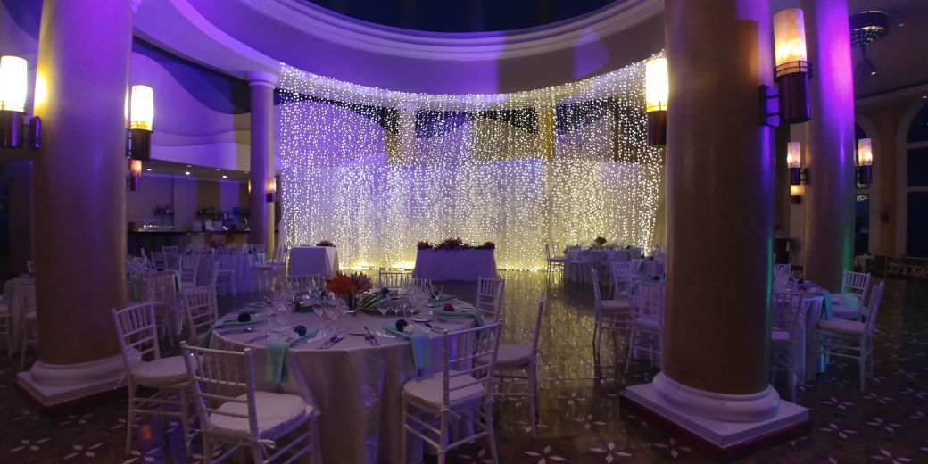 Iberostar Grand Paraiso - Indoors wedding reception with special lighting decoration (ask for a quote)